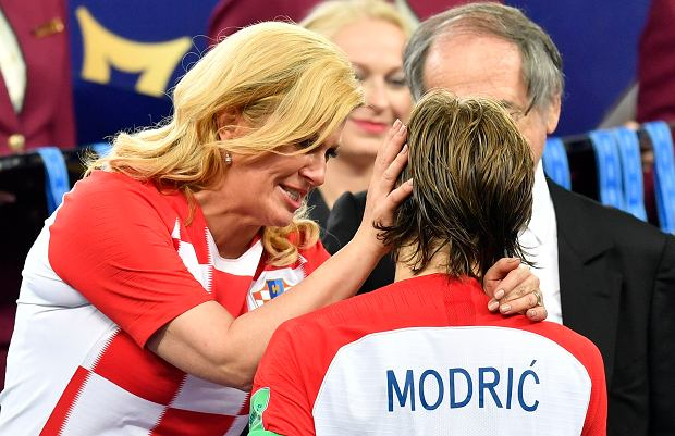 Mundial 2018. Prezydent Chorwacji Kolinda Grabar-Kitarović i Luka Modrić