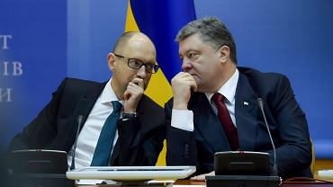 Premier Ukrainy Arsenij Jaceniuk i prezydent Petro Poroszenko