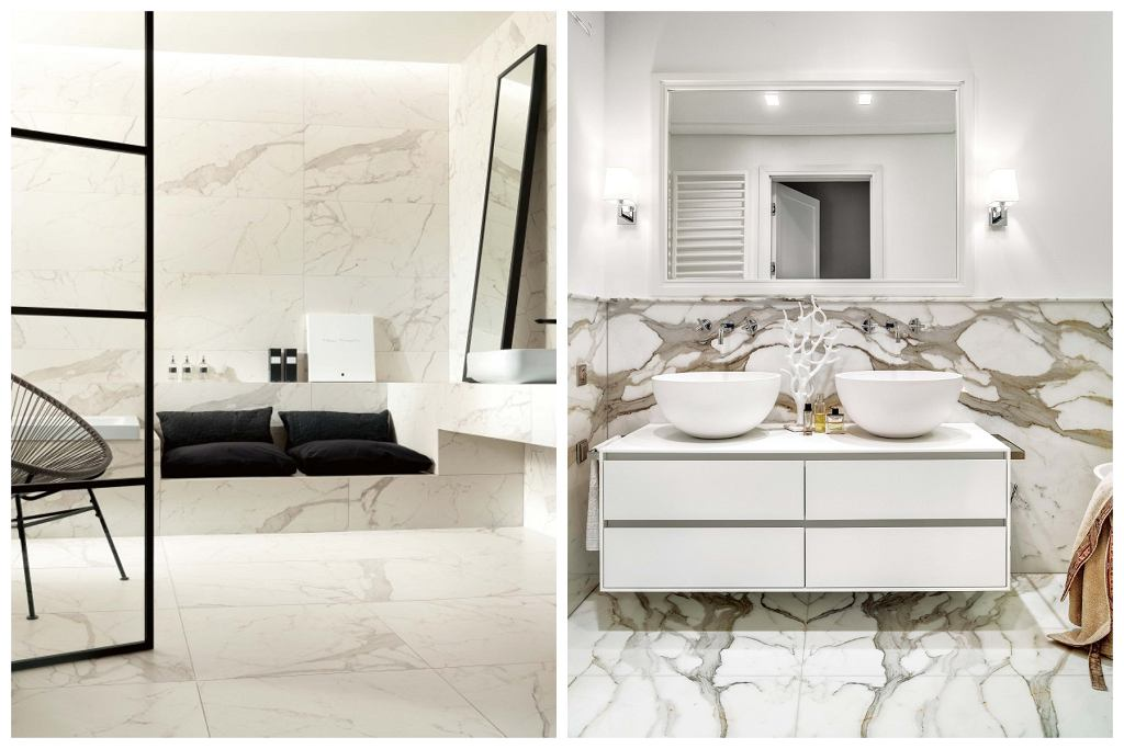 1. Płytki imitujące marmur. 2. Marmur na ścianach i podłodze łazienki