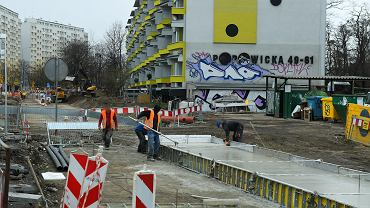 Budowa tramwaju na Popowice, 19.03.2021 r.