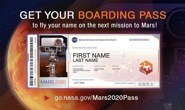 Karta pokładowa, która NASA wyśle chętnym osobom
