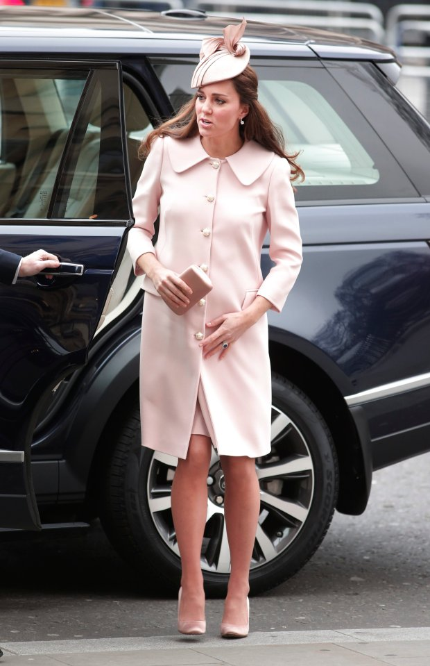 Britain's Kate, the Duchess of Cambridge arrives for the annual Commonwealth Observance at Westminster Abbey in central London, Monday, March 9, 2015. The Observance is the biggest multi-faith celebration in the United Kingdom and takes the form of an hour long service in Westminster Abbey. The Duchess is pregnant and is expected to give birth in April. (AP Photo/Lefteris Pitarakis)