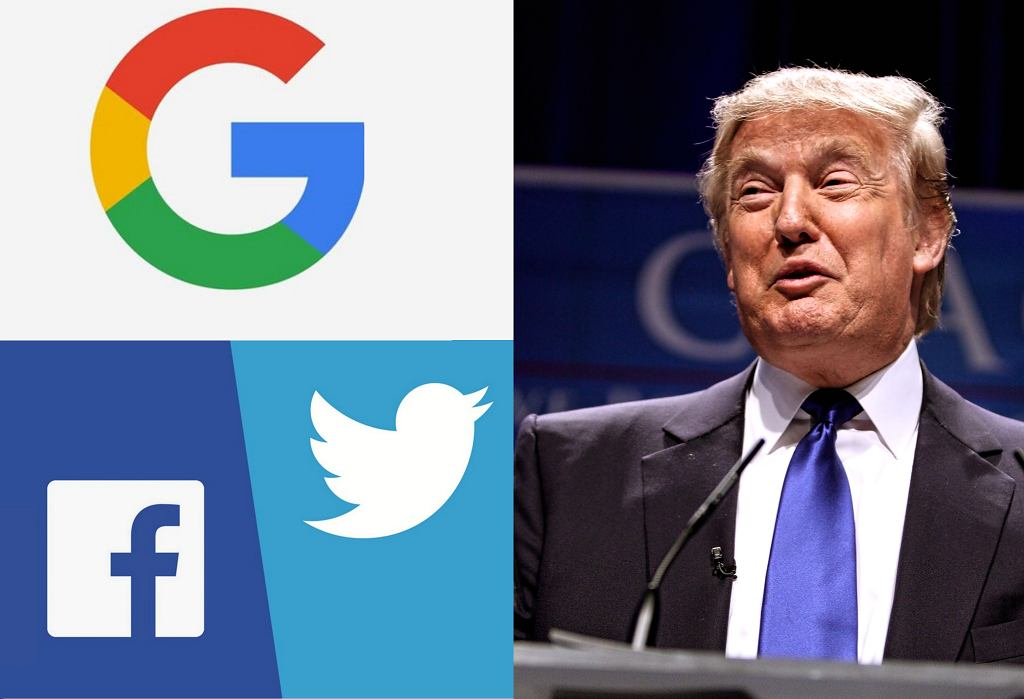 Donald Trump oskarża Google, Twittera i Facebooka