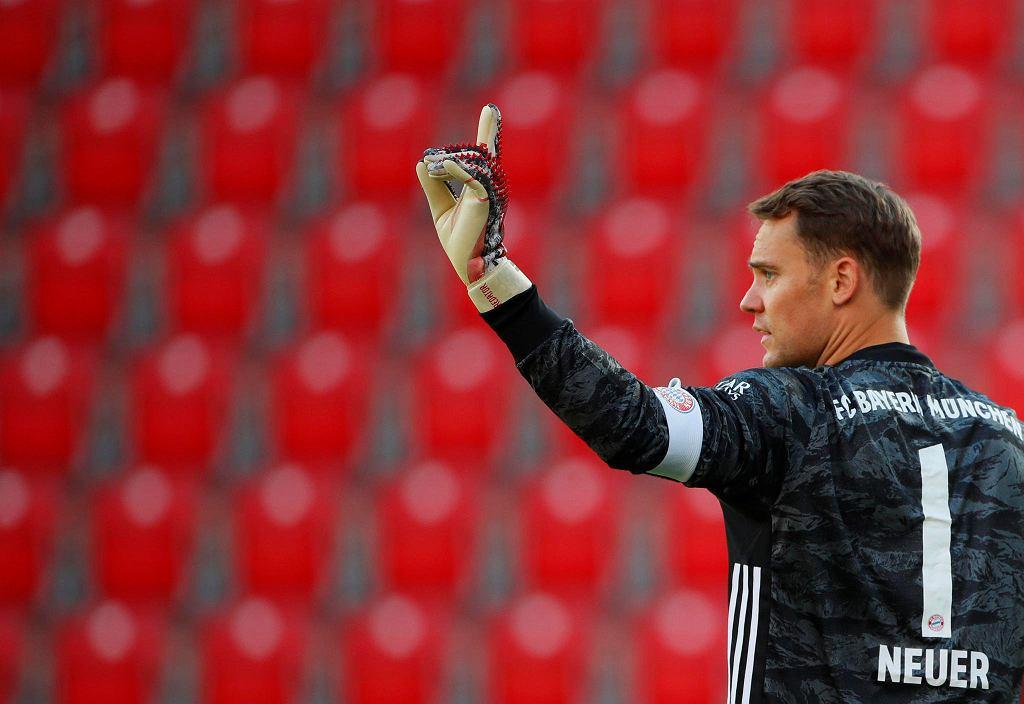 Bundesliga. Bramkarz Bayernu Monachium Manuel Neuer podczas meczu przy pustych trybunach z Unionem Berlin.
