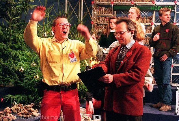 Walter Chełstowski i Jurek Owsiak na finale WOŚP w 1993 roku (Fot. Michał Mutor/Agencja Gazeta)