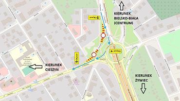 Miejski Zarząd Dróg w Bielsku-Białej wprowadza we wtorek tymczasową organizację ruchu na rondzie na Hulance