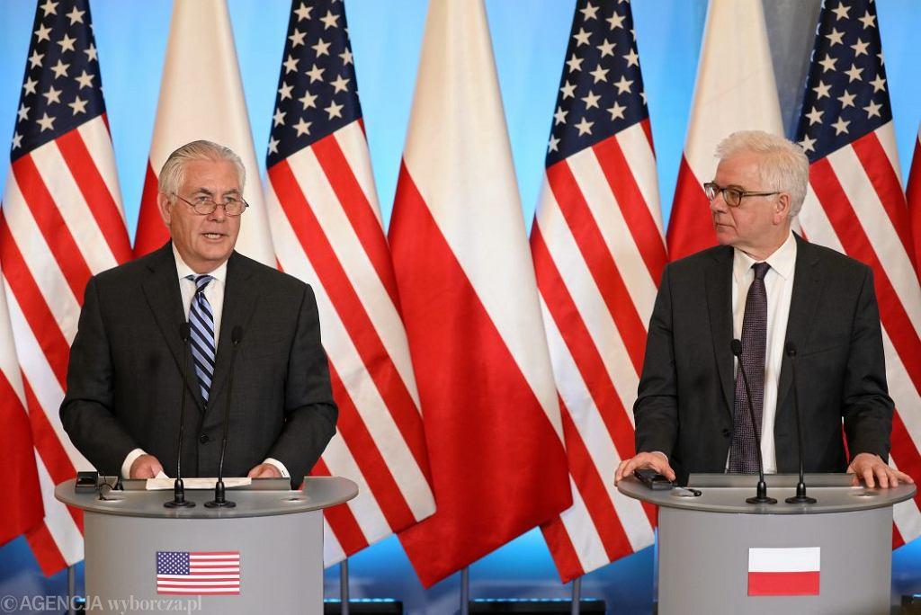 Sekretarz stanu USA Rex Tillerson i szef MSZ Jacek Czaputowicz.
