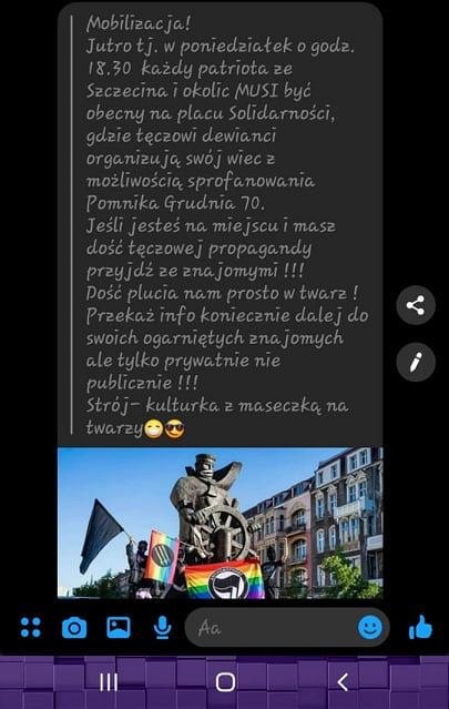 Wiadomość krążąca w sieci nawołująca do udziału w kontrdemonstracji na placu Solidarności, gdzie odbędzie się manifestacja 'Wszystkich nas nie zamkniecie. Szczecin solidarny z zatrzymanymi'.