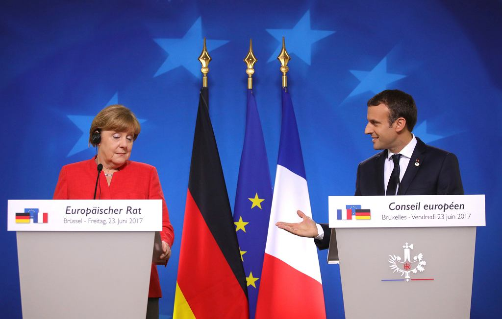 Kanclerz Niemiec Angela Merkel i prezydent Francji Emmanuel Macron podczas unijnego szczytu w Brukseli, 23 czerwca 2017 r.