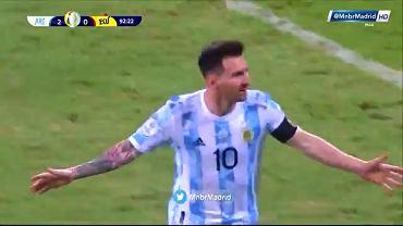 Leo Messi po zdobyciu gola z wolnego w meczu z Ekwadorem