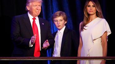 Donald Trump z żoną Melanią i synem Barronem