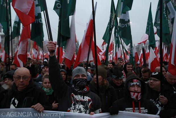2018.11.11. Podczas Marszu Niepodległości w Warszawie.