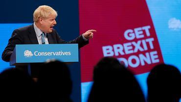 Premier Boris Johnson podczas wystąpienia na konwencji Partii Konserwatywnej w Manchesterze, 2 października 2019 r. .