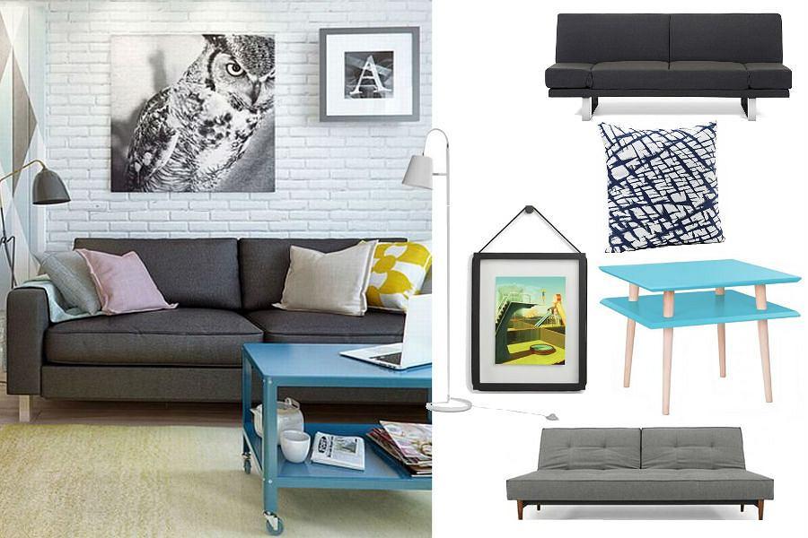Mieszkanie z szarą sofą