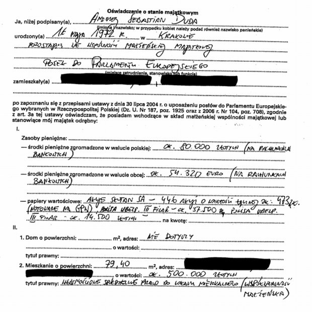 Oświadczenie majątkowe Andrzeja Dudy