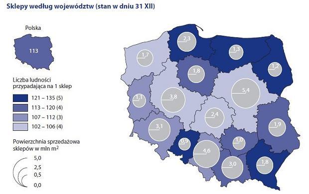 Sklepy w Polsce, dane na koniec 2018 r.