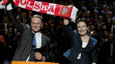 Krajowa Konwencja Platformy Obywatelskiej. Donald Tusk przekazuje kierownictwo w PO Ewie Kopacz. Warszawa, 8 listopada 2014 r.