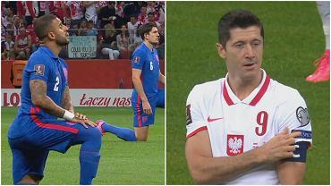 Anglicy klęczą przed meczem Polska - Anglia