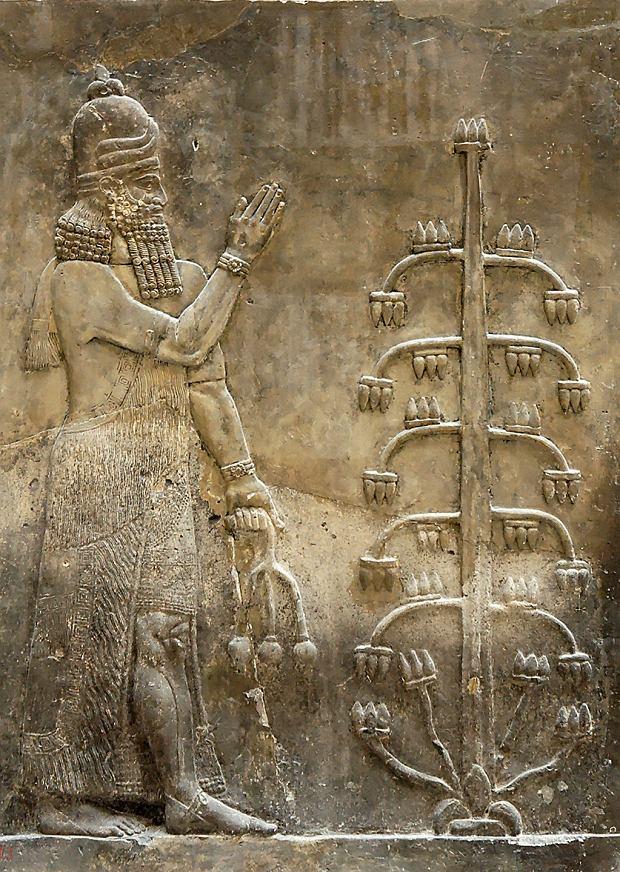 Relief z pałacu króla Sargona II wDur Szarukin w Asyrii (obecnie Irak) 716-713 p.n.e., Luwr