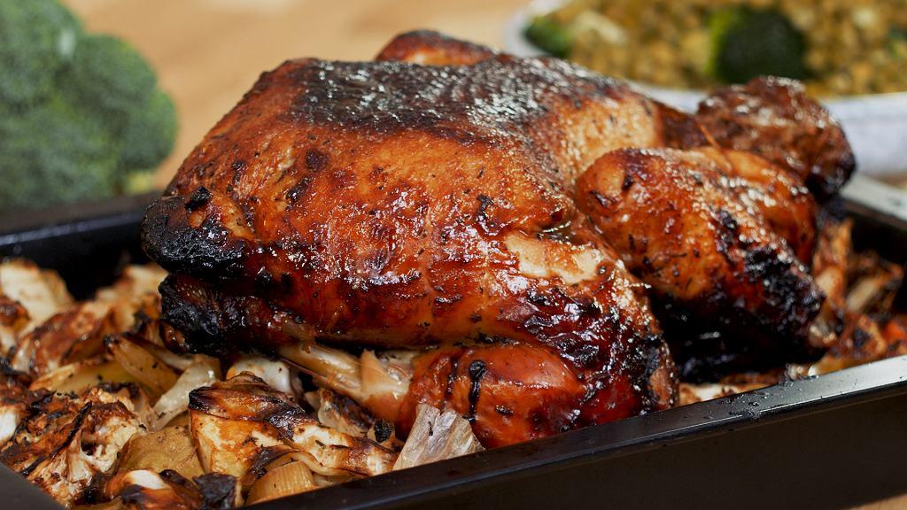 Pieczony kurczak z ziołowym puree