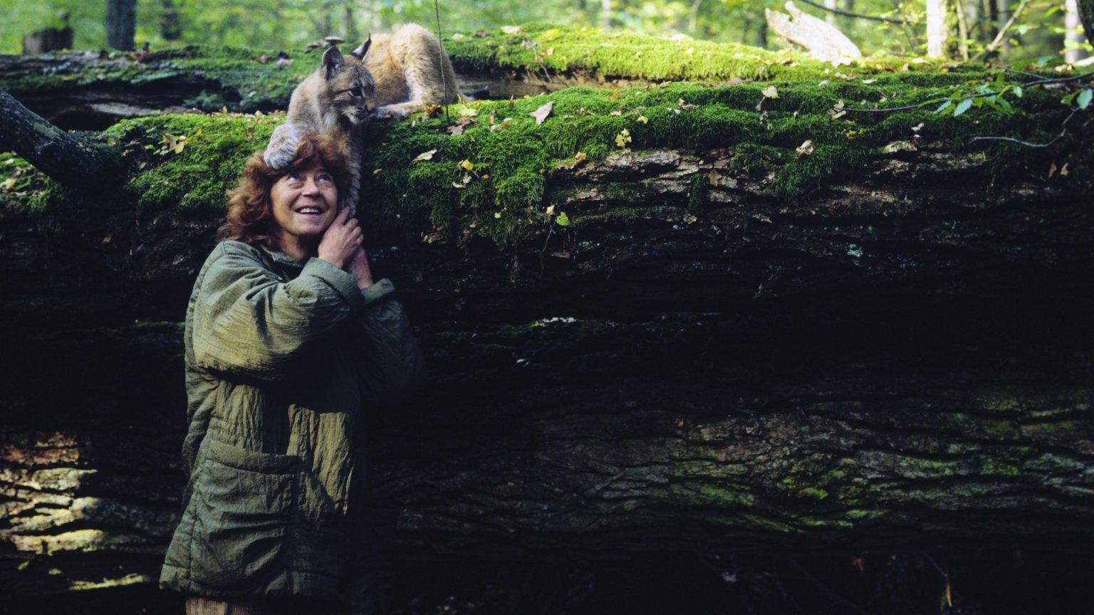 Simona z rysiczką Agatą hodowaną na potrzeby filmu Jana Walencika