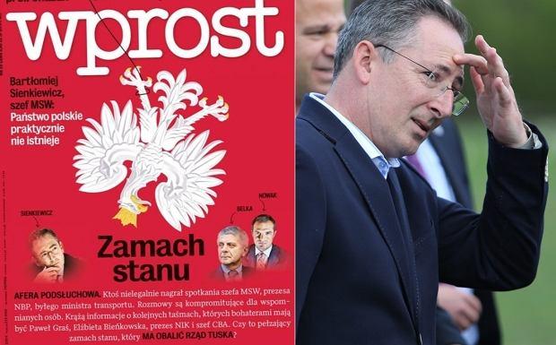 Fragment okładki najnowszego ''Wprost''/ minister Bartłomiej Sienkiewicz