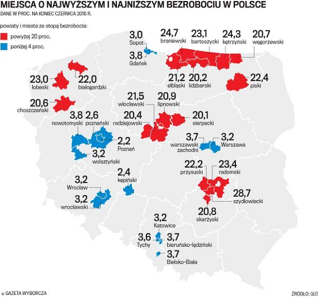 Polska pełna plam wysokiego bezrobocia