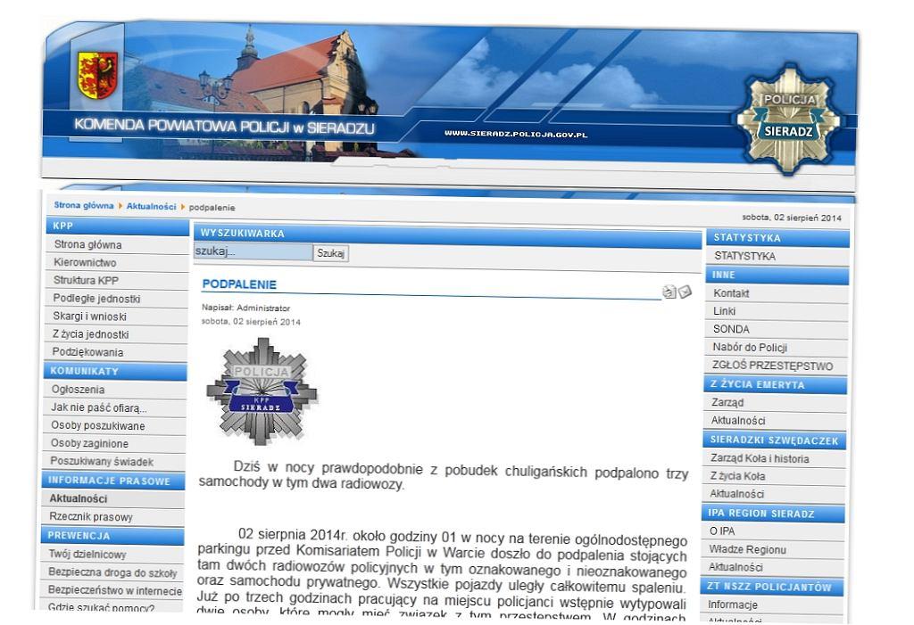 Informacja na stronie sieradzkiej policji