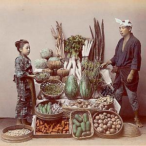 Warzywa -fotografia kolorowana (autor Kusakabe Kimbei, 1841-1934).