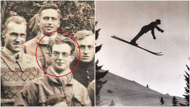 Franz Thannheimer na zdjęciu kadry Niemiec na zgrupowaniu przed igrzyskami olimpijskimi w Sankt Moritz (po lewej) i w locie (po prawej)