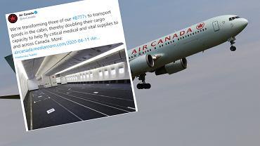 Air Canada demontuje siedzenia w samolotach pasażerskich, żeby przewozić towary.