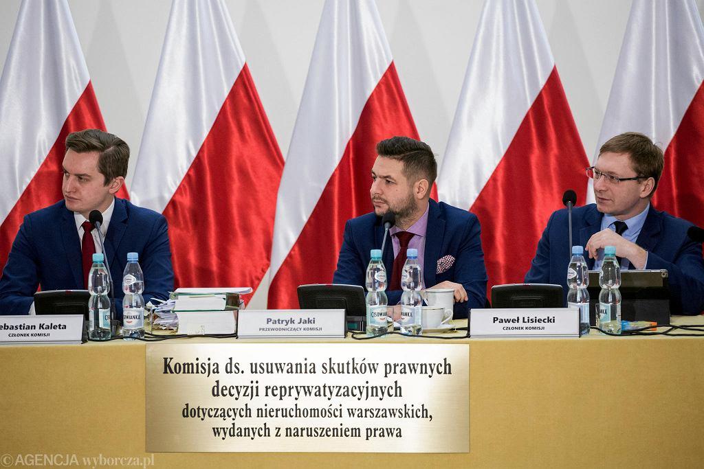 Komisja ds. reprywatyzacji: od lewej: Sebastian Kaleta, Patryk Jaki i Paweł Lisiecki