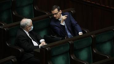 Mateusz Morawiecki i Jarosław Kaczyński podczas posiedzenia Sejmu, 14.05.2020