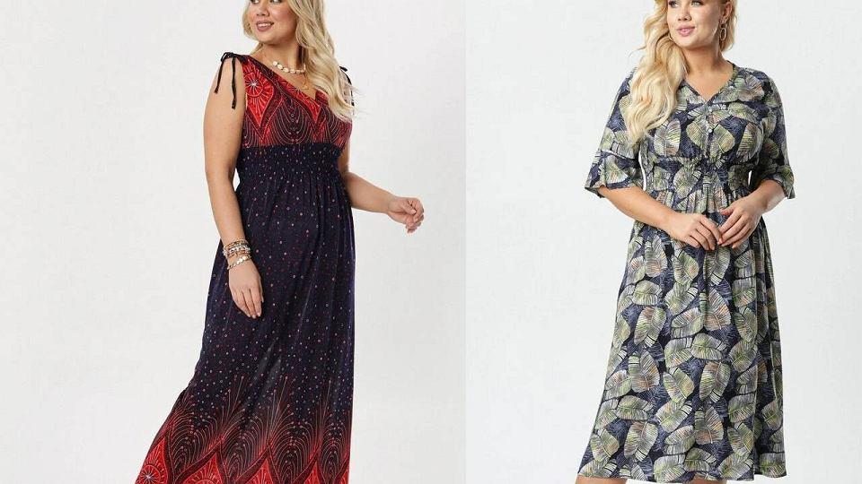 Sukienki wieczorowe we wzory dla puszystych