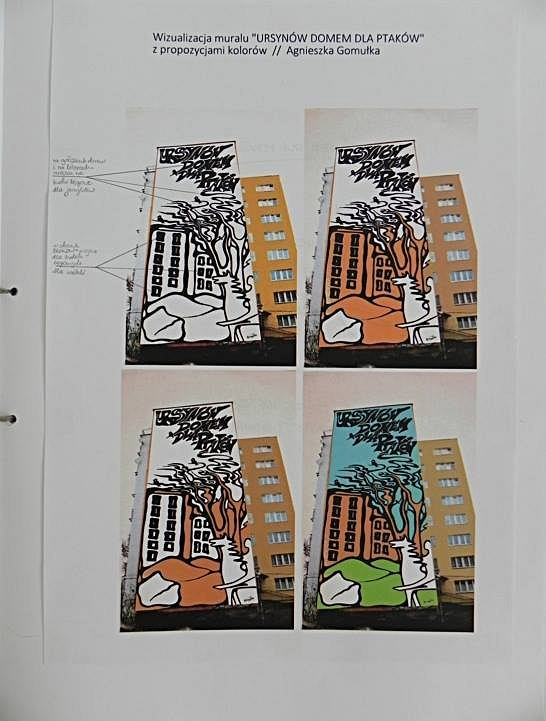 'Infomural' Justyny Kierat, która dosłownie pokazuje, dla kogo przeznaczone są budki, które miałyby zawisnąć na ścianie. Proponowane miejsca ich umieszczenia oznaczone są kropkami.