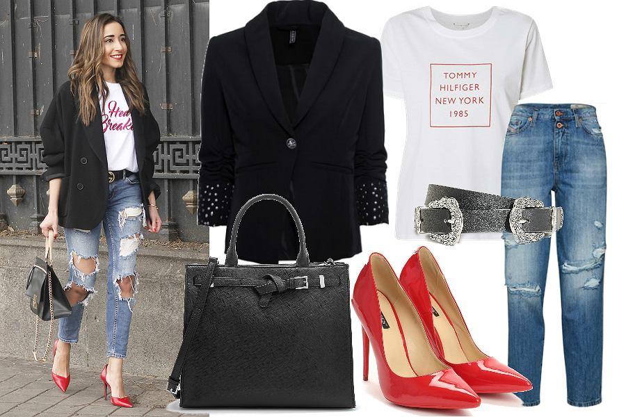 Szpilki czerwone świetnie wyglądają w połączeniu z jeansowymi ubraniami i czarnymi dodatkami