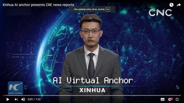 AI zamiast prezentera w chińskiej agencji prasowej. Wygląda i mówi jak człowiek