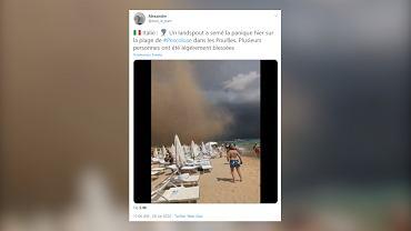 Trąba powietrzna przy włoskiej plaży. Pięć osób zostało rannych