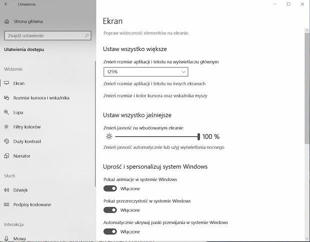 Ustawienia wielkości tekstu w Windowsie
