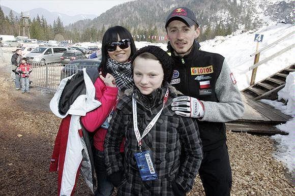 Adam Małysz z żoną i córką Karoliną