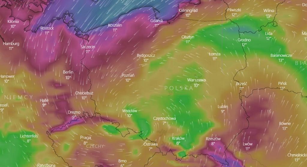 Porywy wiatru w środę 14 października.