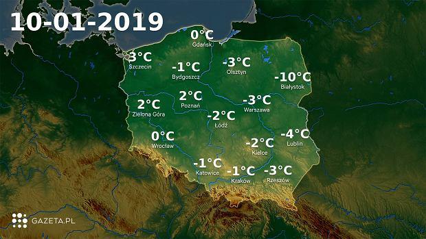 Mapa temperatury 10.01.2019r.