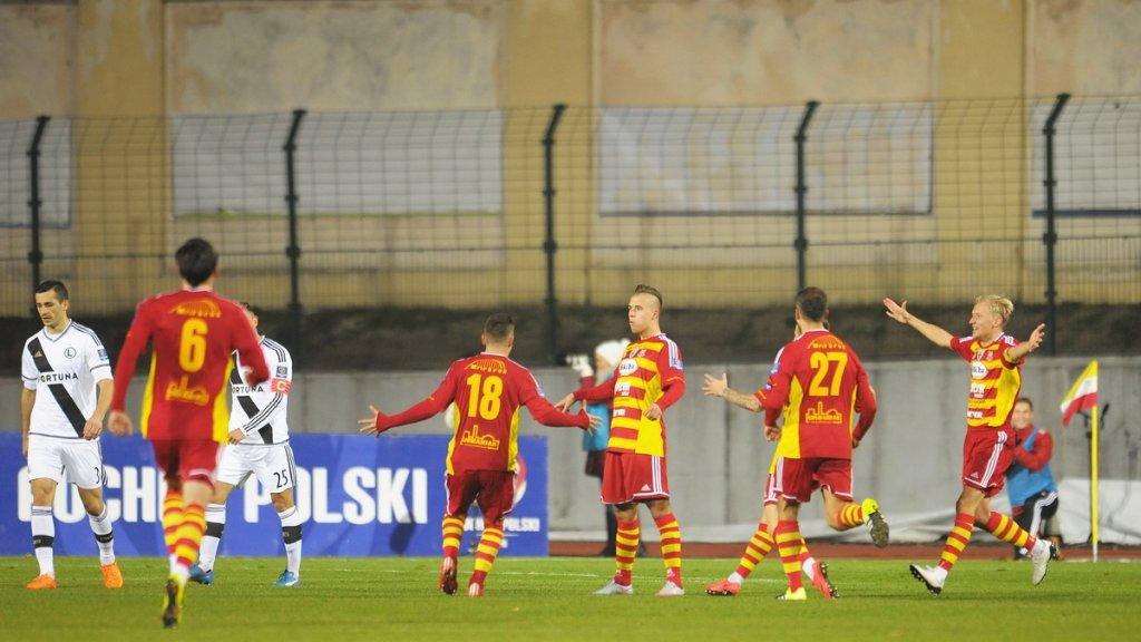 Patryk Mikita po golu dla Chojniczanki w meczu z Legią