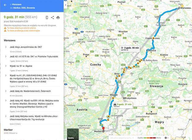 Wyznaczenie trasy przejazdu przy wykorzystaniu map gogle (maps.google.pl)