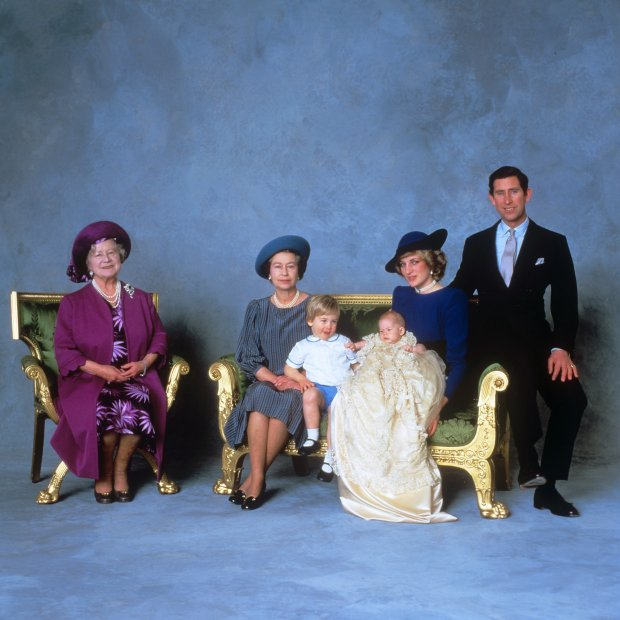 File photo dated 21/12/84 of (left to right) the Queen Mother, Queen Elizabeth II, Prince William, Prince Harry and the Prince and Princess of Wales after the christening ceremony of Prince Harry as the Queen turns 90 on the April 21st.
