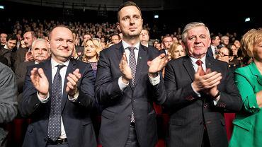 Od lewej: lider PSL na Lubelszczyźnie Krzysztof Hetman, szef partii Władysław Kosiniak-Kamysz oraz były marszałek województwa Sławomir Sosnowski