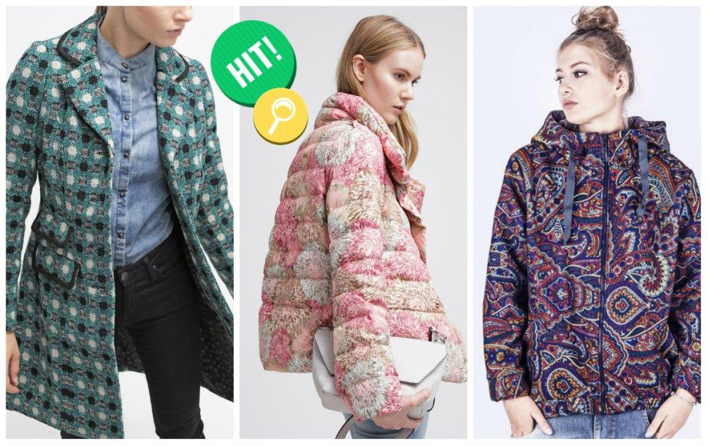 Zimowe kurtki i płaszcze we wzory