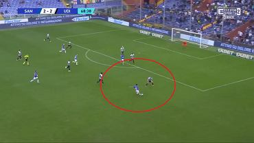 Uderzenie Antonio Candrevy w meczu z Udinese