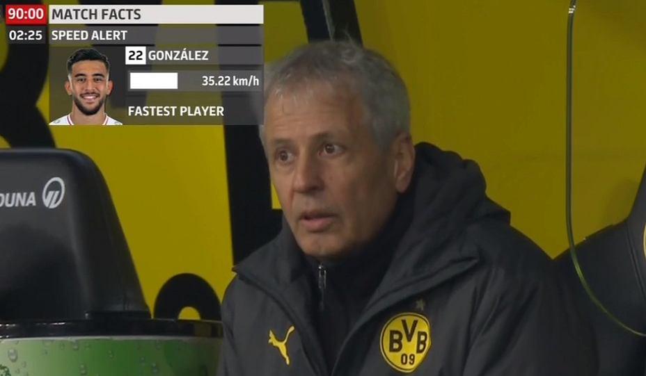 Favre w trakcie meczu BVB - Stutgart