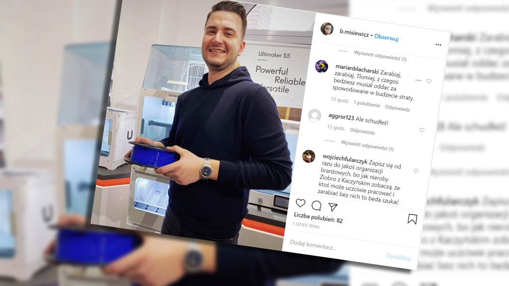 Bartłomiej Misiewicz otwiera firmę produkująca filament do drukarek 3D